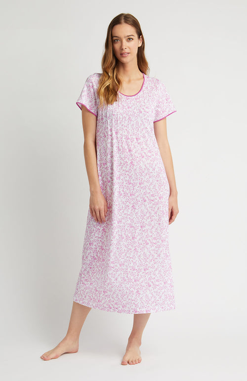 French Pleat Short Sleeve Nightdress (3111) - Pink Floral | Bonsoir of London
