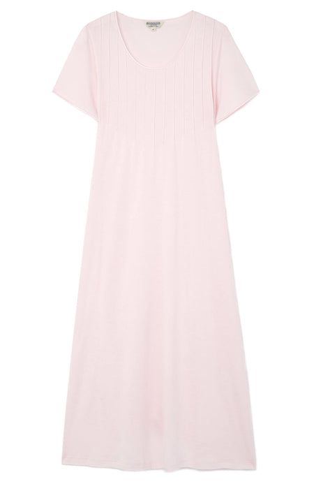 French Pleat Short Sleeve Nightdress (3111) - Soft Pink | Bonsoir of London