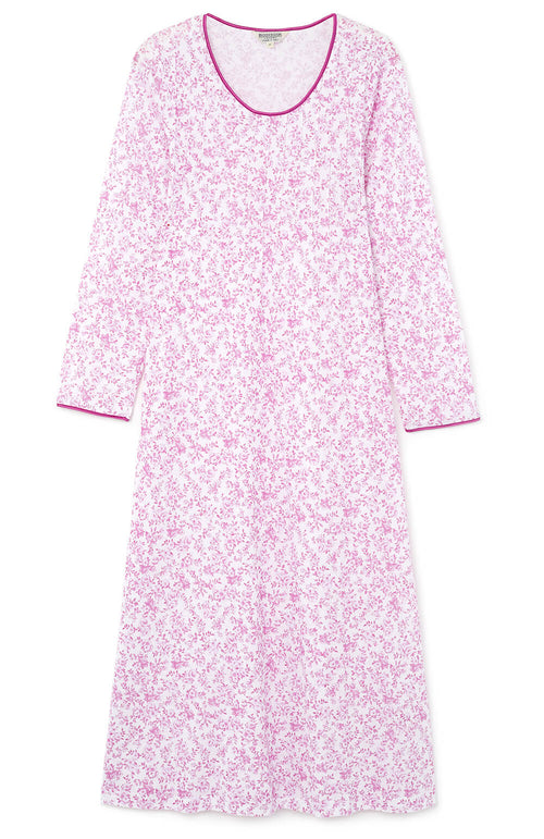 French Pleat Long Sleeve Nightdress (3241) Pink Floral | Bonsoir of London