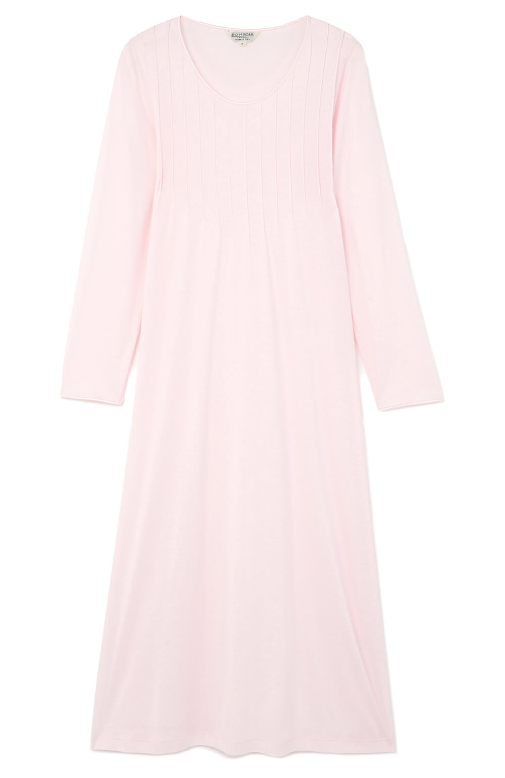 French Pleat Long Sleeve Nightdress (3241) - Soft Pink | Bonsoir of London