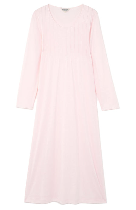 French Pleat Soft Pink Long Sleeve Nightdress  | Bonsoir of London