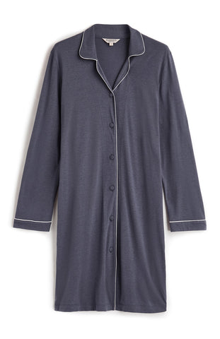 French Pleat Long Sleeve Nightdress (3241) - Slate