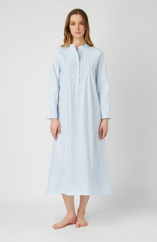 GRACE LONG SLEEVE NIGHTDRESS - BLUE PAISLEY | Bonsoir of London
