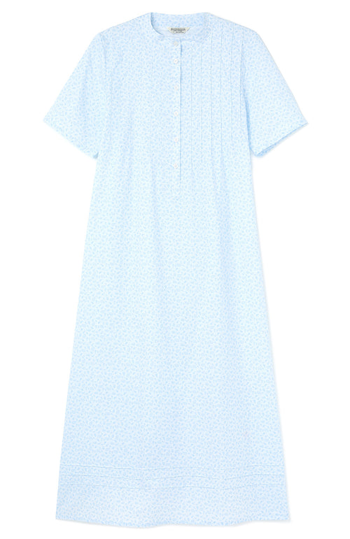GRACE SHORT SLEEVE NIGHTDRESS - BLUE PAISLEY | Bonsoir of London
