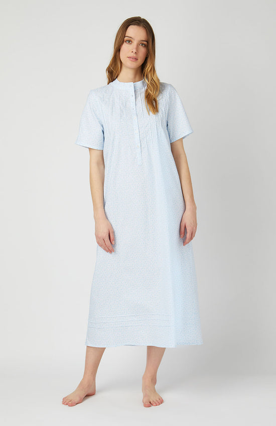 Women's Brushed Cotton Pyjamas (blps) - Blue Herringbone