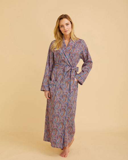 Women's Liberty Cotton Dressing Gown Burgundy Paisley | Bonsoir of London