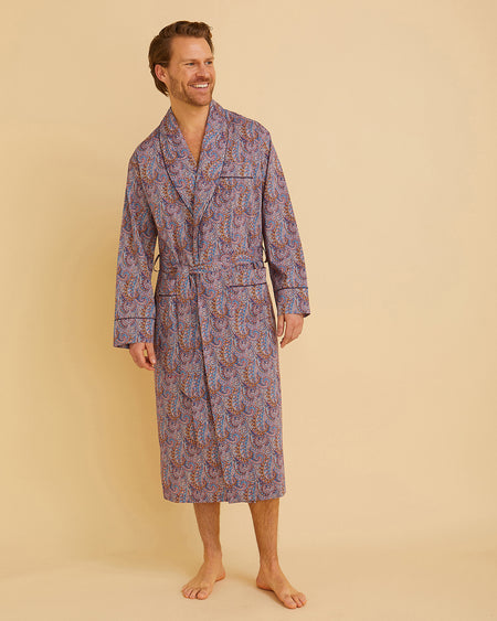 Men's Liberty Cotton Dressing Gown Burgundy Paisley | Bonsoir of London