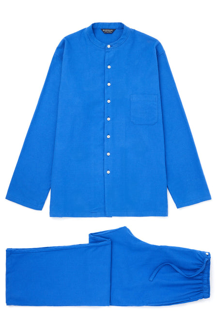 Brushed Cotton Bright Blue Grandad Pyjamas | Bonsoir of London