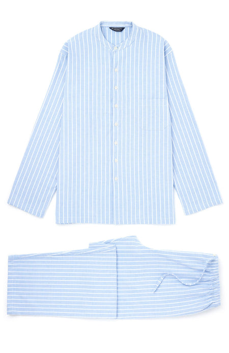 Brushed Cotton Classic Stripe Grandad Pyjamas | Bonsoir of London