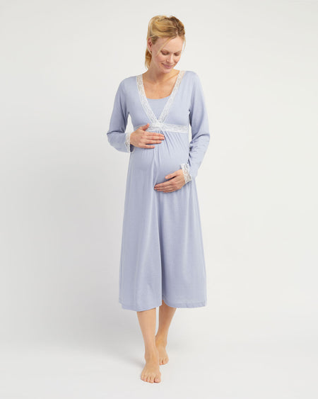 Maternity & Nursing Long Sleeve Jersey Nightdress - French Grey