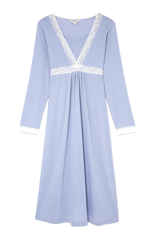 Maternity & Nursing Long Sleeve Jersey Nightdress (mlnl) Blue Floral