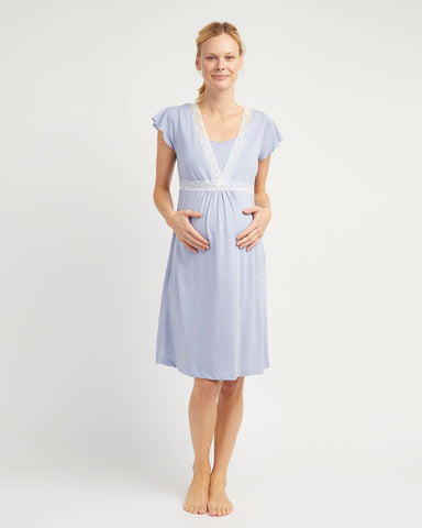 Maternity Short Sleeve Cotton Nightshirt (Mcss) - Blue Floral