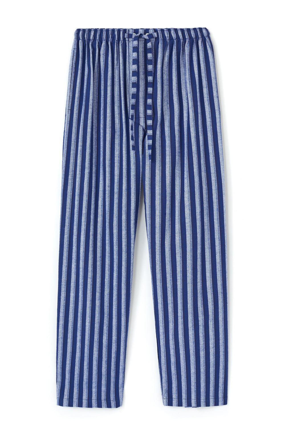 Brushed Cotton Dark Blue Stripe Pyjama Trousers | Bonsoir of London