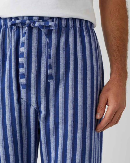 Men's Brushed Cotton Pyjama Trousers - Dark Blue Stripe