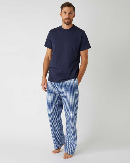 Men's Brushed Cotton Pyjama Trousers - Navy Gingham