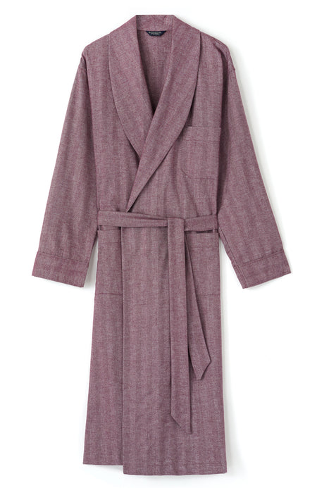 Brushed Cotton Aubergine Herringbone Gown | Bonsoir of London