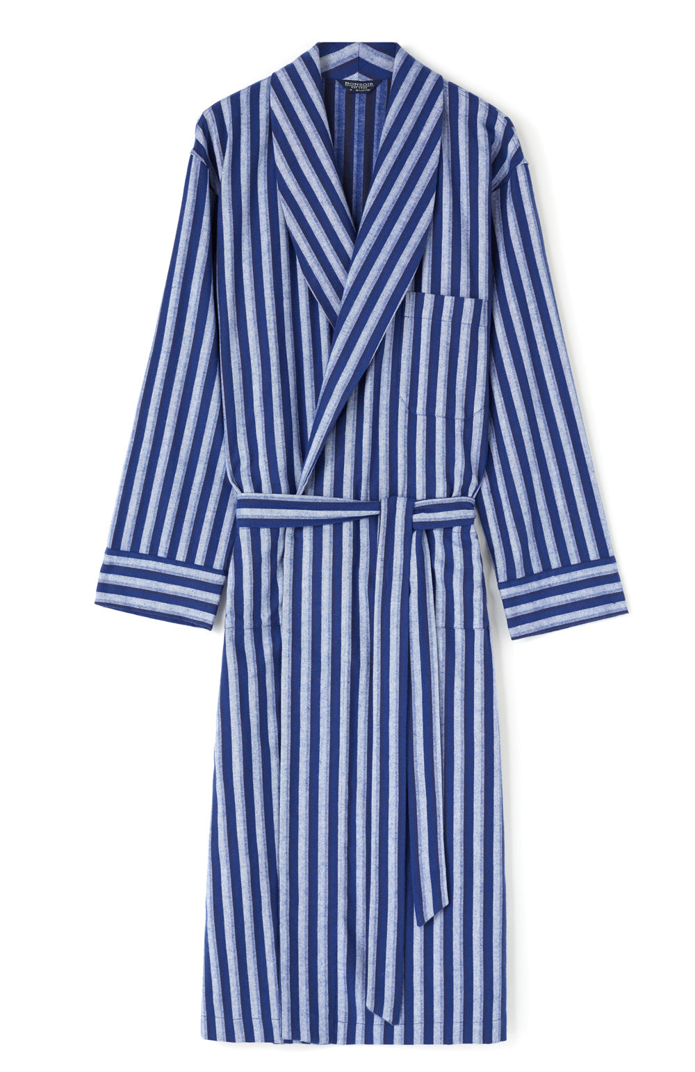 Brushed Cotton Dark Blue Stripe Gown | Bonsoir of London