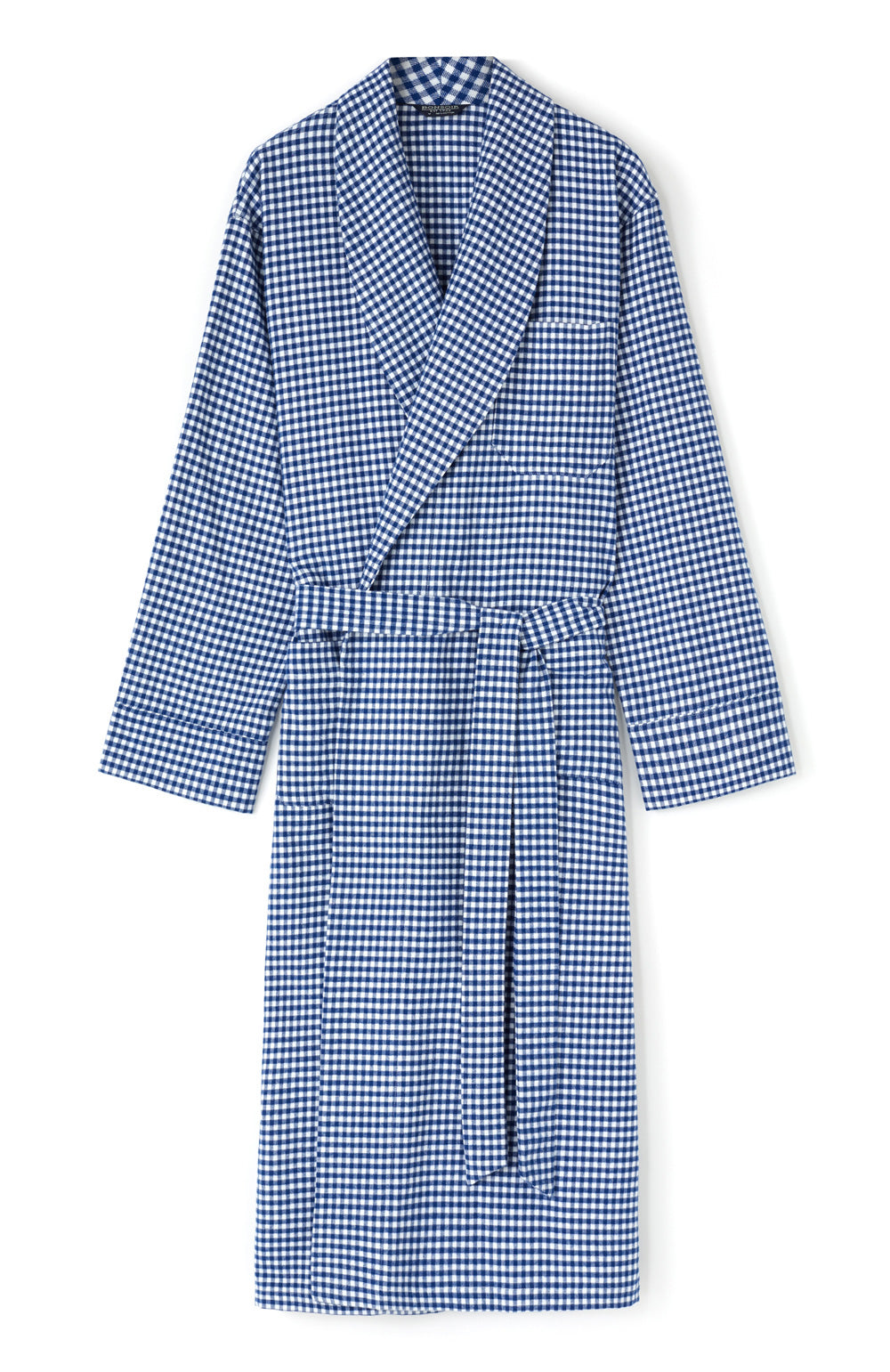 Brushed Cotton Navy Gingham Gown | Bonsoir of London