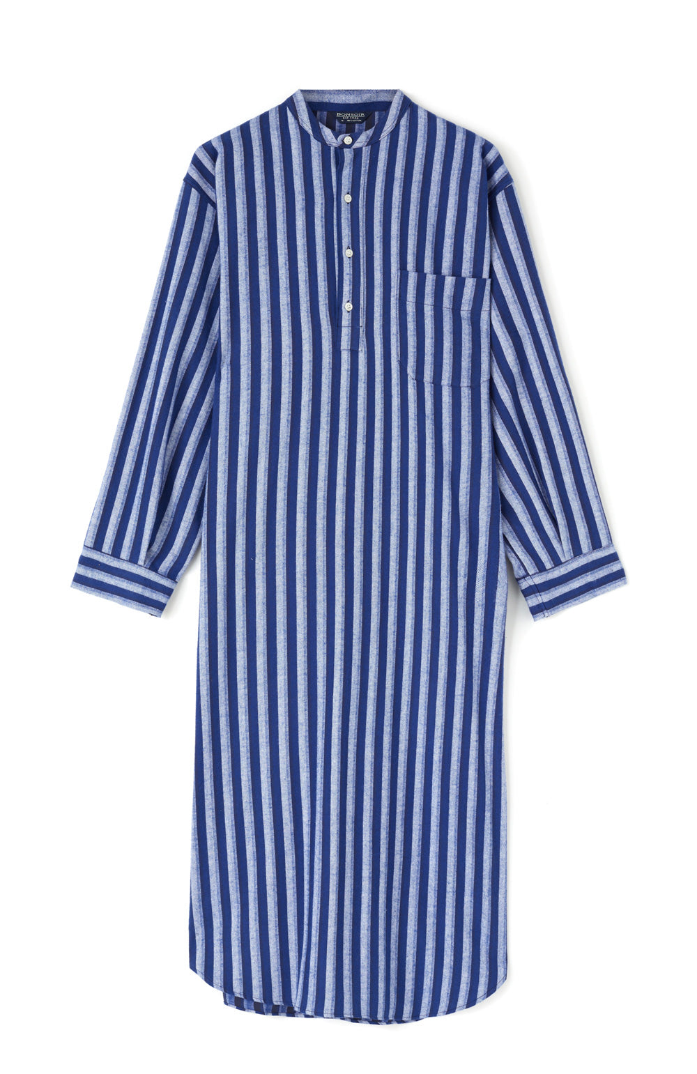 Brushed Cotton Dark Blue Stripe Grandad Nightshirt | Bonsoir of London