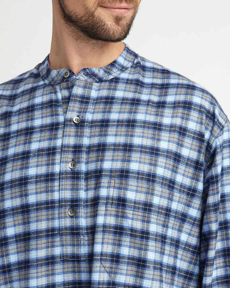 Men's Brushed Cotton Nightshirt Blue Check | Bonsoir of London