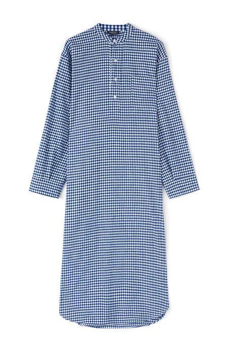 Brushed Cotton Navy Gingham Grandad Nightshirt | Bonsoir of London