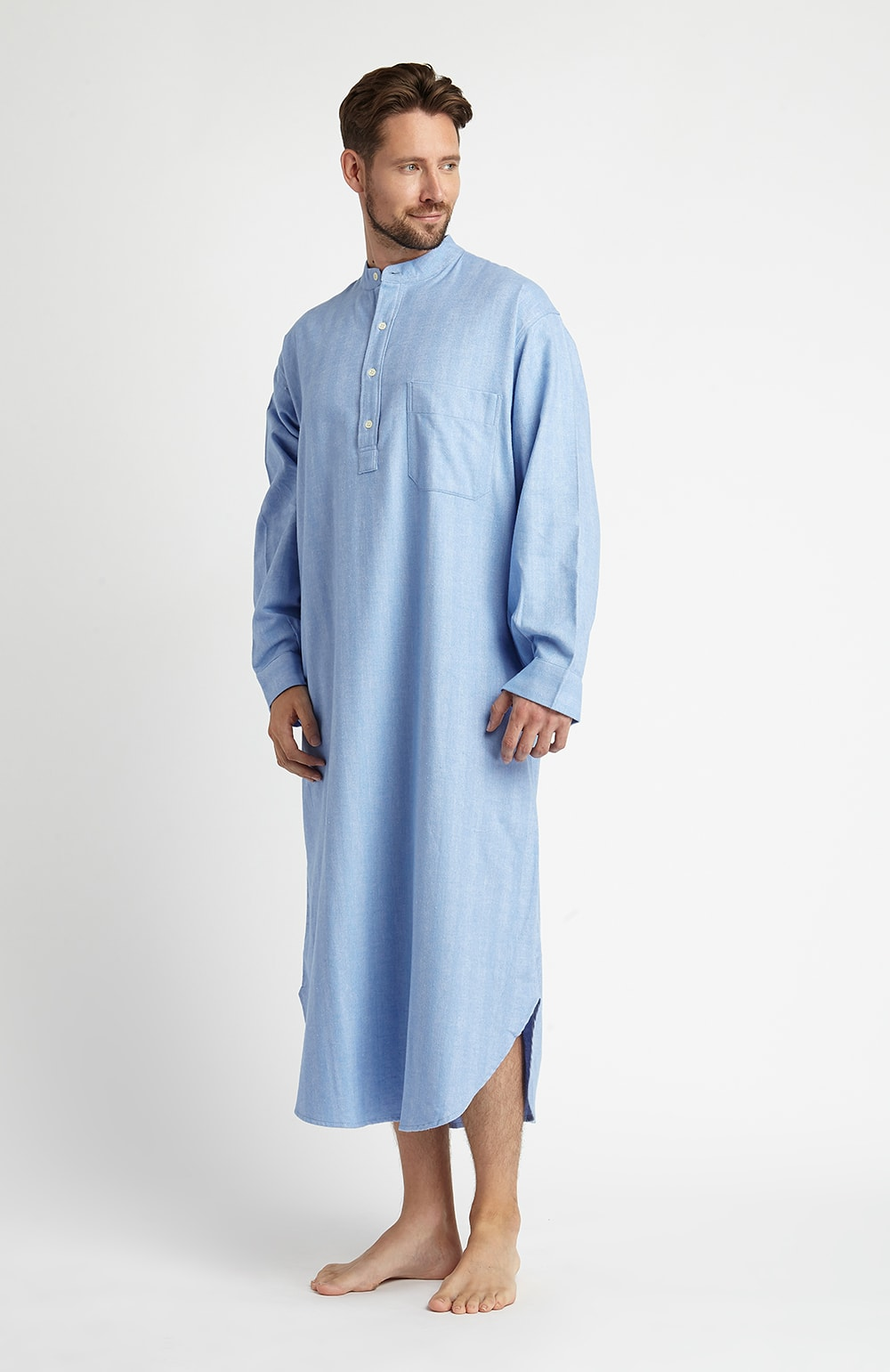 Brushed Cotton Grandad Nightshirt (jmnl) - Sky | Bonsoir of London