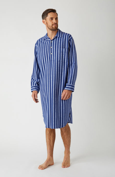 Brushed Cotton Dark Blue Stripe Nightshirt | Bonsoir of London