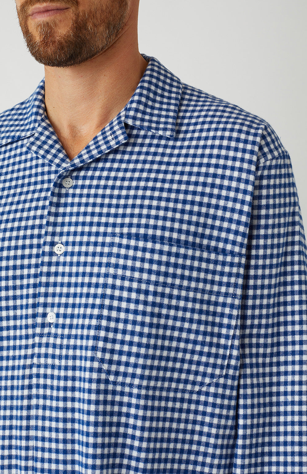 Brushed Cotton Navy Gingham Nightshirt | Bonsoir of London