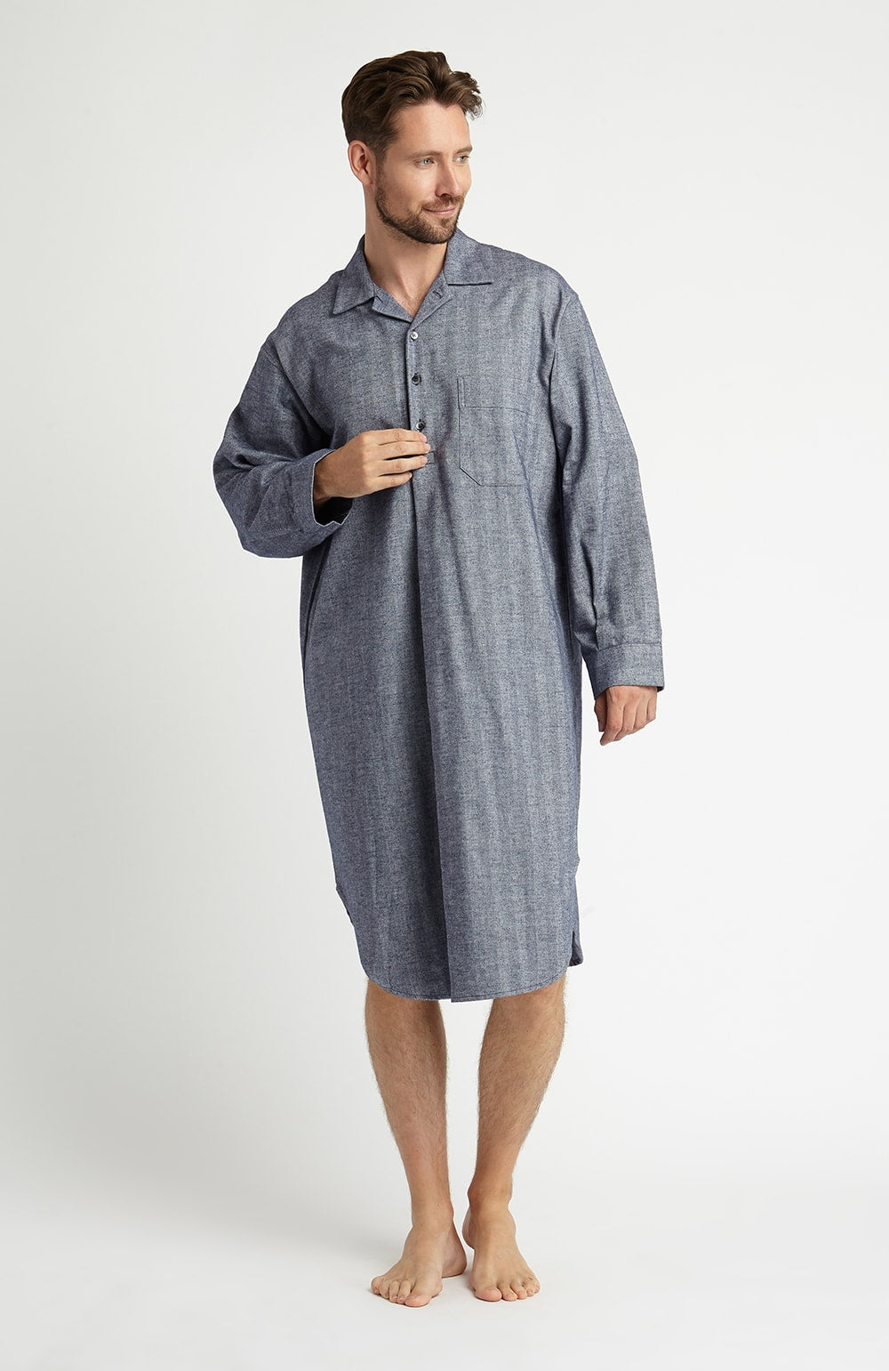 Brushed Cotton Nightshirt (jmnm)- Navy | Bonsoir of London