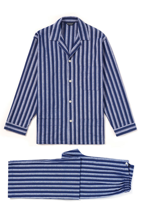 Brushed Cotton Dark Blue Stripe Pyjamas | Bonsoir of London