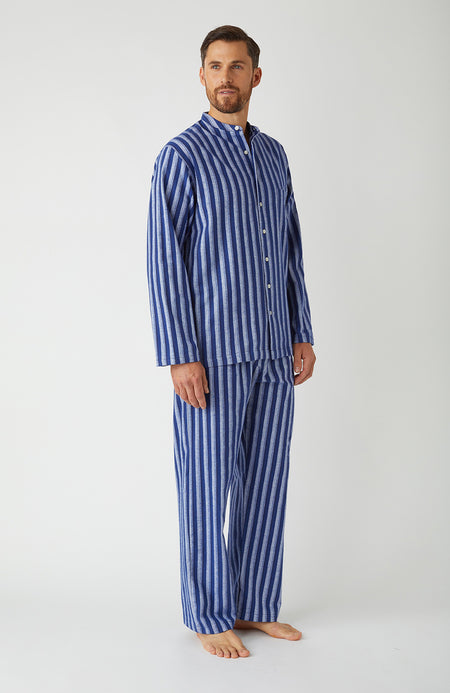 Brushed Cotton Dark Blue Stripe Grandad Pyjamas | Bonsoir of London