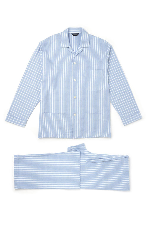 Brushed Cotton Pyjamas (jmpe) - Classic Stripe | Bonsoir of London