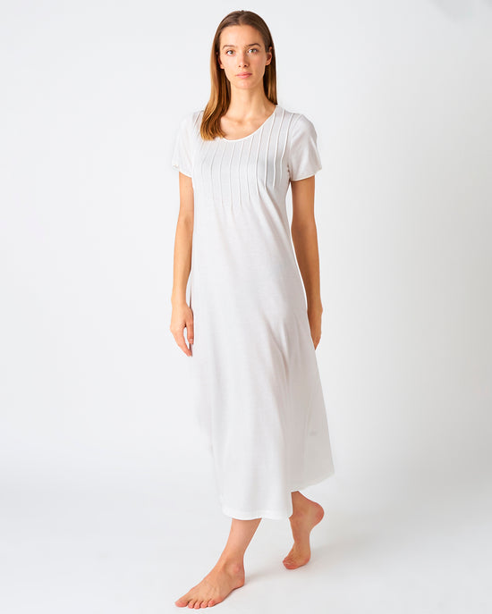 Women's Victoria Cotton Short Sleeve Nightdress - White