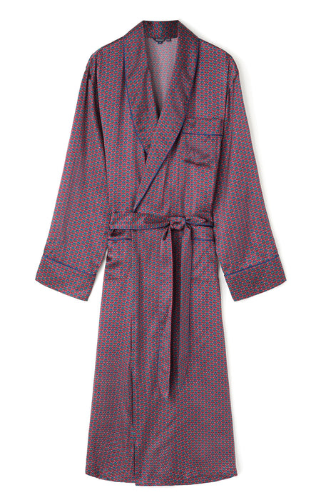 Luxury Silk Wine Motif Robe | Bonsoir of London