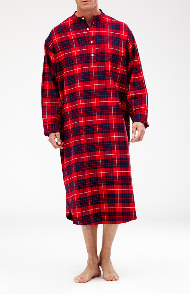 BRUSHED COTTON GRANDAD NIGHTSHIRT - LISMORE | Bonsoir of London