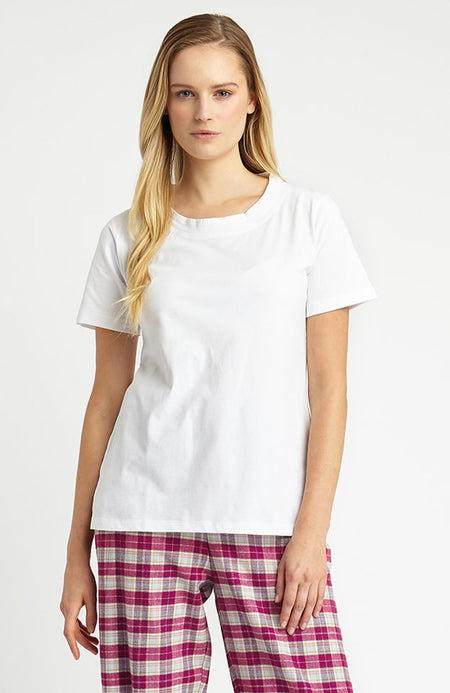 Scoop Neck T-Shirt (lkss) - White