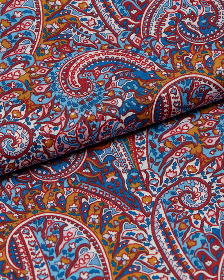 Men's George Cotton Pyjamas Made with Liberty Fabric – Burgundy Paisley
