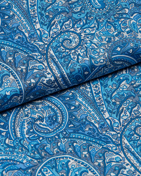Men's Max Cotton Dressing Gown Made with Liberty Fabric – Blue Paisley