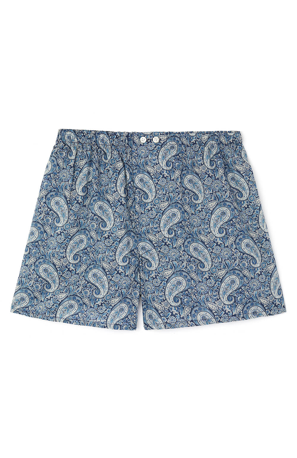 Fine Cotton Boxer Shorts made with Liberty Fabric (lmbb) - Felix Blue
