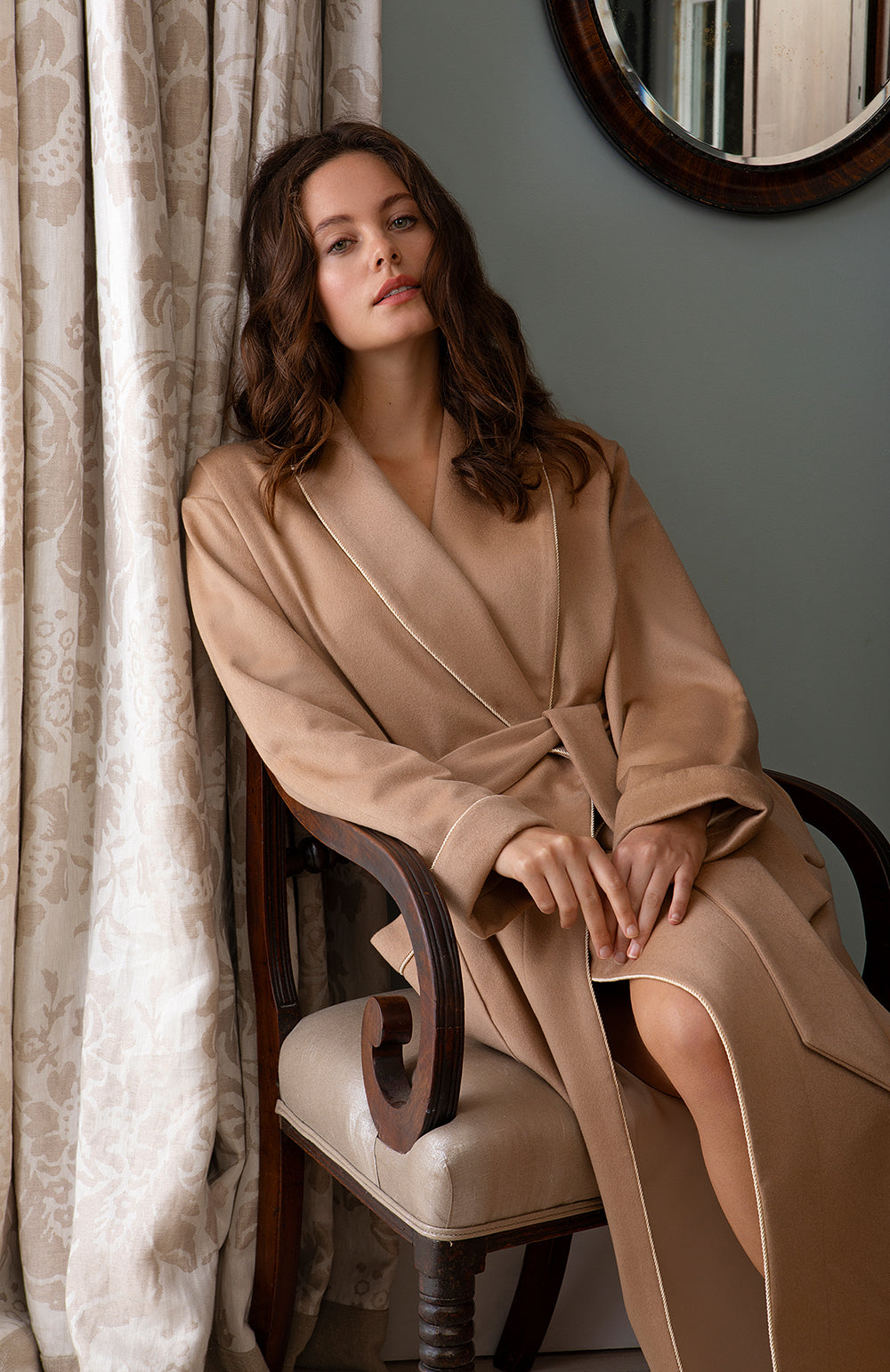 Women's Luxury Camel Silk-Lined Cashmere Robe | Bonsoir of London