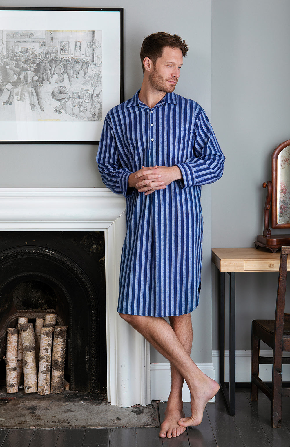 Men's Brushed Cotton Nightshirt (Jmnm) - Dark Blue Stripe
