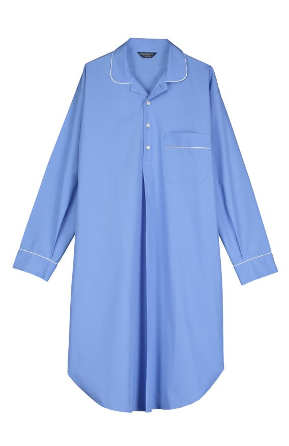 Essential Nightshirt (emnm) - Mid Blue | Bonsoir of London