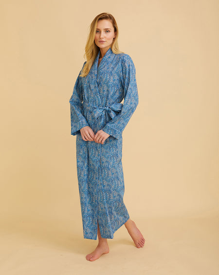 Women's Liberty Cotton Dressing Gown Blue Paisley | Bonsoir of London