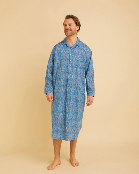 Men's Liberty Cotton Nightshirt Blue Paisley | Bonsoir of London