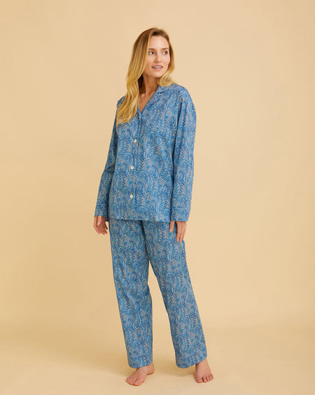 Women's Liberty Cotton Pyjamas Blue Paisley | Bonsoir of London