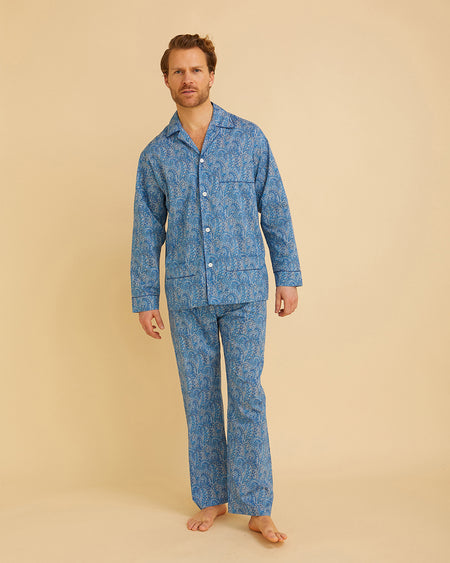 Men's Liberty Cotton Pyjamas Blue Paisley | Bonsoir of London