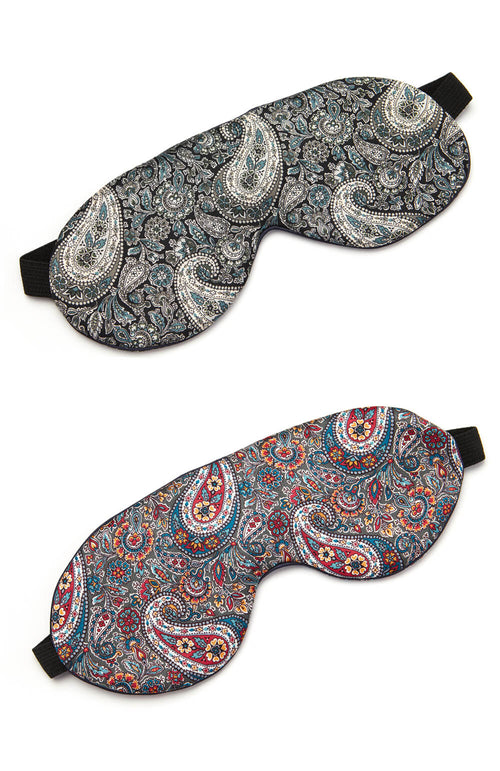 Silk Eye Mask (eyes) - Grey Paisley