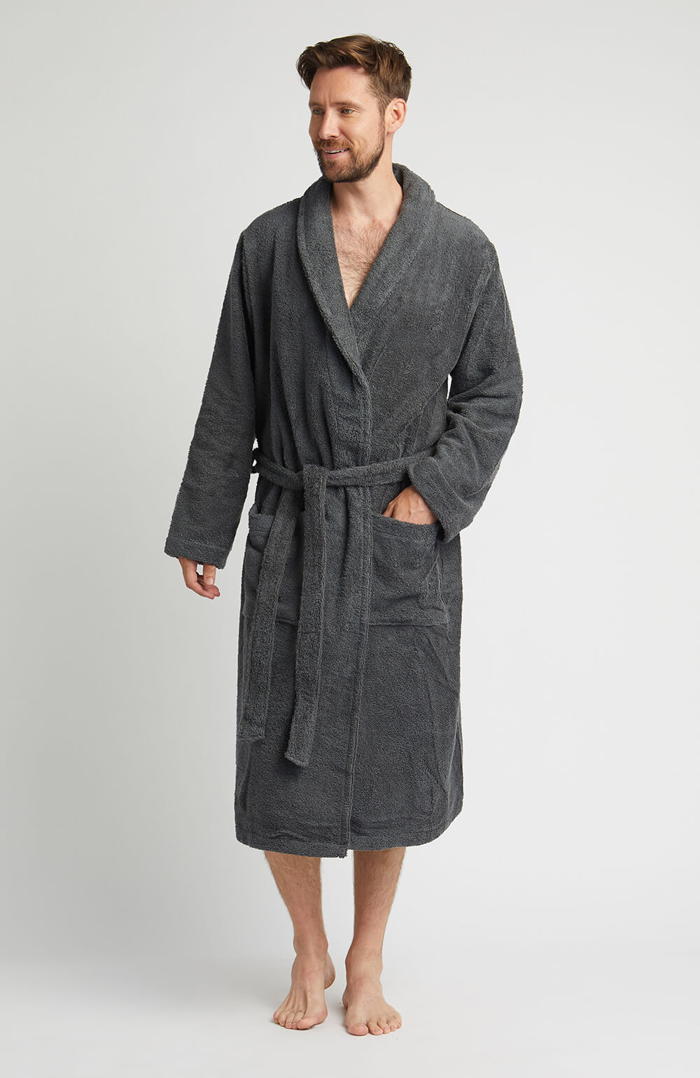 Towelling Robe Charcoal | Bonsoir of London