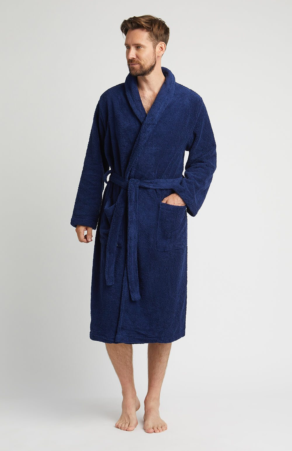 Towelling Robe Midnight | Bonsoir of London