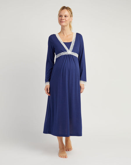 Maternity & Nursing Long Sleeve Jersey Nightdress - Midnight